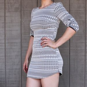 3/4 Sleeve Bodycon Dress with Geometric Pattern